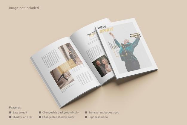 Tijdschriftmodel geopend met een omslagperspectief
