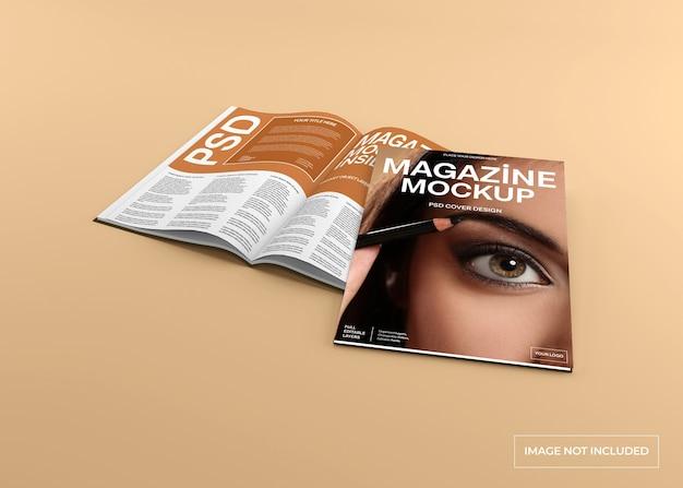 Tijdschriftomslag en binnenpagina mockup geïsoleerd