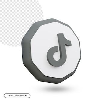 Tiktok app-pictogram geïsoleerd in 3d-weergave