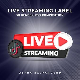 Tiktok live streaming 3d render pictogram badge