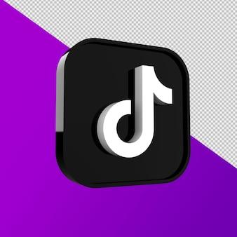 Tiktok-pictogram, applicatie voor sociale media. 3d-weergave premium foto