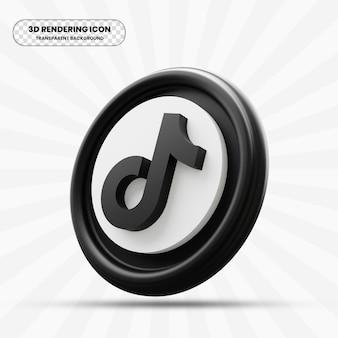Tiktok zwart pictogram in 3d-rendering