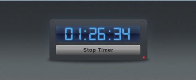 Timer widget interface met blue digital numbers