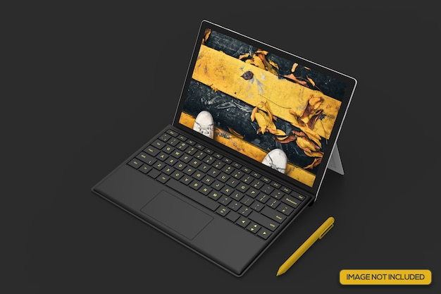 Tiro de ángulo alto de maqueta de tableta realista