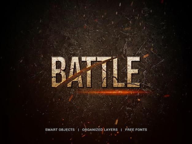 Título cinematográfico con letras de batalla