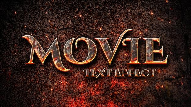 Título cinematográfico con plantilla de efecto de texto de fuego