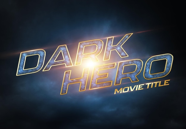 Título de película de superhéroe con efecto de texto cinematográfico