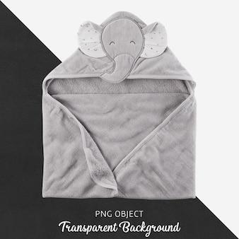 Toalla gris para bebés o niños, albornoz sobre fondo transparente