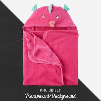 Toalla rosada para bebés o niños, albornoz sobre fondo transparente