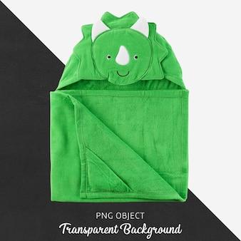 Toalla verde para bebés o niños, albornoz sobre fondo transparente