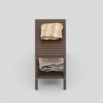 Toallas en un estante de madera