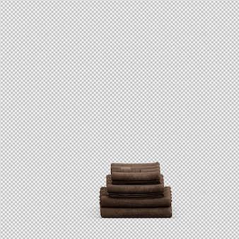 Toallas plegadas aisladas 3d renderizadas