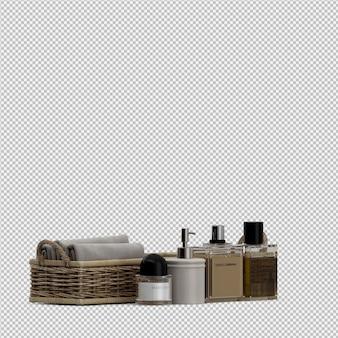 Toallas plegadas en cestas y botellas cosméticas.