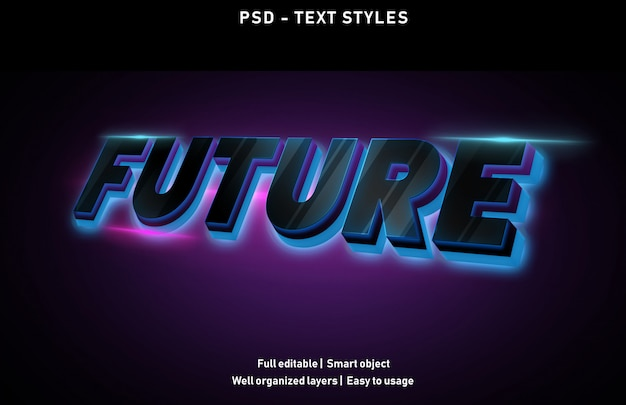 Toekomstige teksteffecten stijl bewerkbare psd