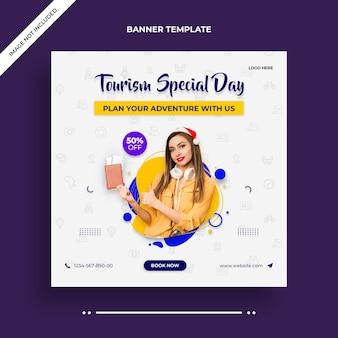 Toerisme speciale dag instagram-banner of postsjabloon voor sociale media