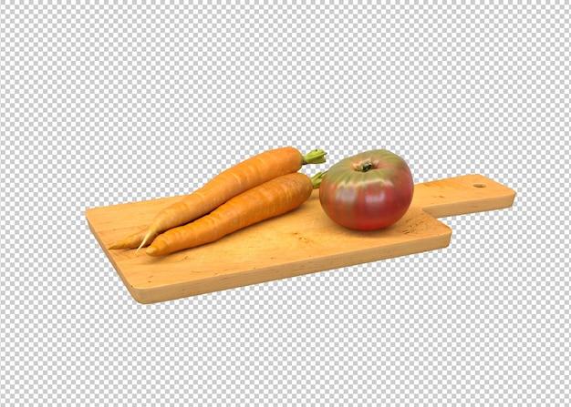 Tomaten en wortelen op het keukenbord