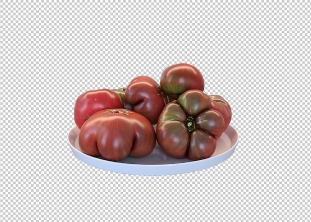 Tomaten op een wit bord
