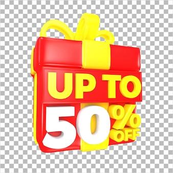 Tot 50 procent korting op verkoopaanbieding met rode en gele verrassingsgeschenkdoos geïsoleerd