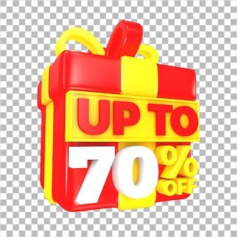 Tot 70 procent korting op verkoopaanbieding met rode en gele verrassingsgeschenkdoos geïsoleerd