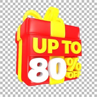 Tot 80 procent korting op verkoopaanbieding met rode en gele verrassingsgeschenkdoos geïsoleerd