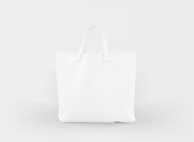 Tote bag in tessuto su bianco
