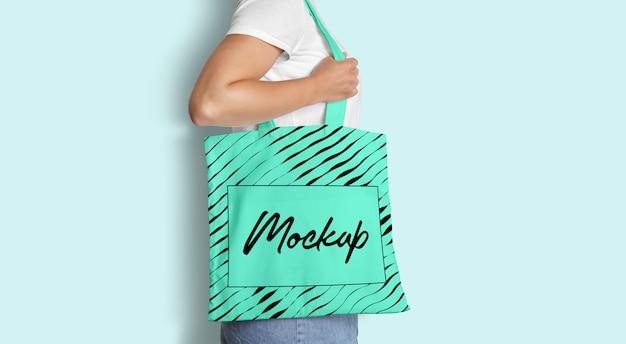Tote bag mockup with woman