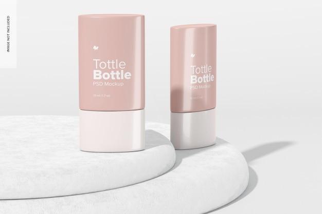 Tottle-flessenmodel, voor- en zijaanzicht
