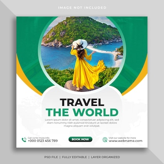 Tour en reis social media-post of vierkante flyer-sjabloon