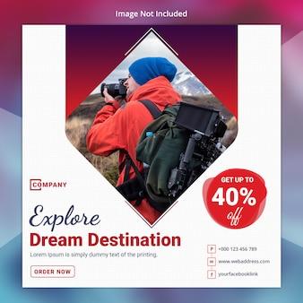 Tour travel social media sjabloon voor spandoek