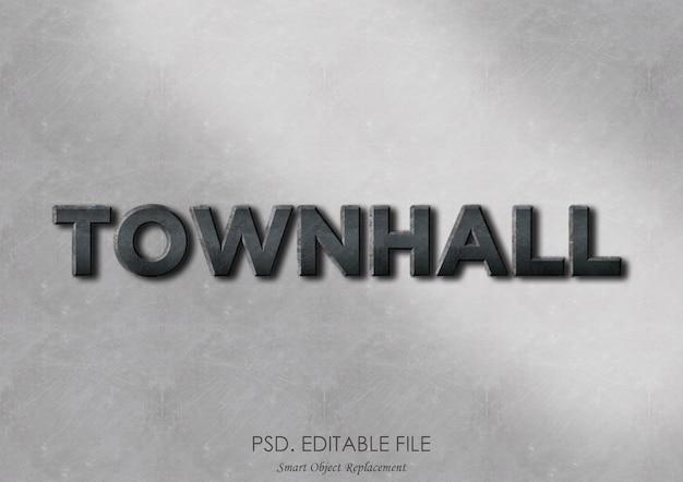 Townhall 3d teksteffect