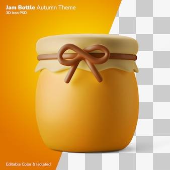 Traditionele honing jam container 3d illustratie weergave 3d pictogram bewerkbaar geïsoleerd