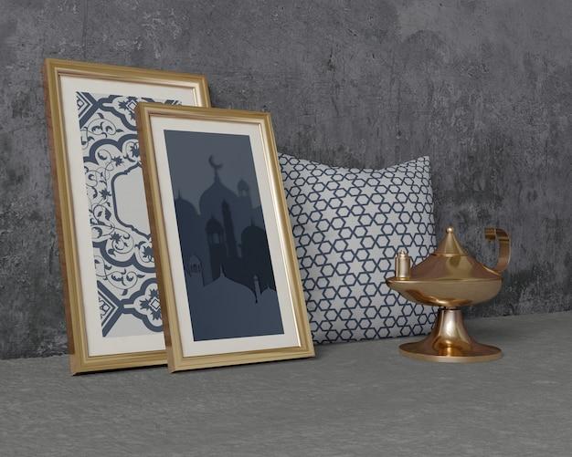 Traditionele ramadan samenstelling met frames mock-up