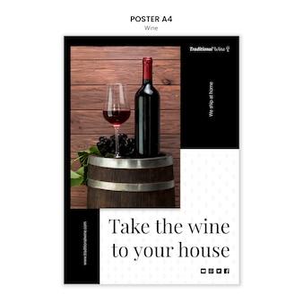 Traditionele wijn poster sjabloon stijl Gratis Psd
