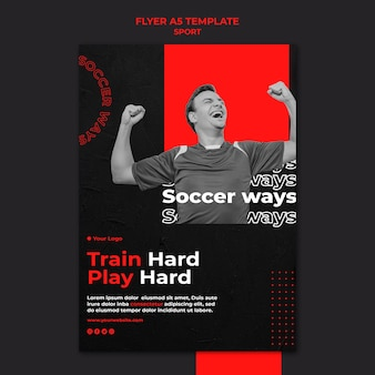 Train hard play hard flyer-sjabloon