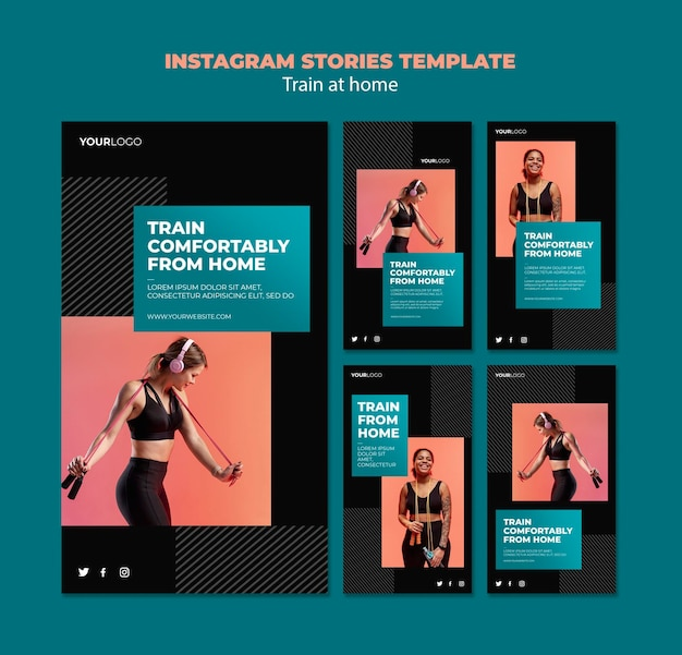 Train thuis concept instagram verhalen sjabloon