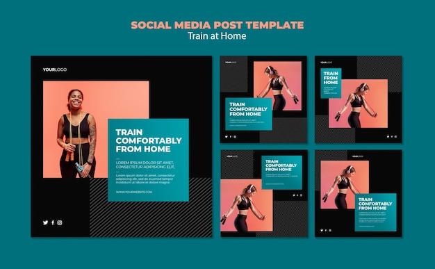 Train thuis concept sociale media post sjabloon