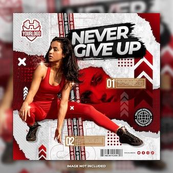 Training meisje flyer social media bericht sjabloon rode achtergrond