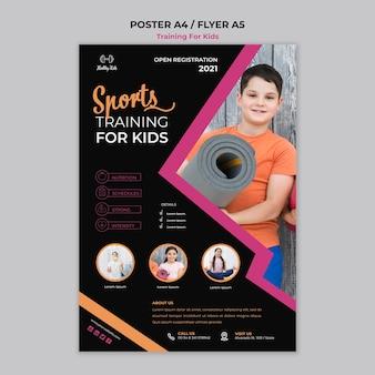 Training voor kinderen poster-stijl