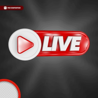 Transmisión en vivo 3d render icono insignia aislada