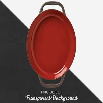 Transparant ovaal rood servies met handvat