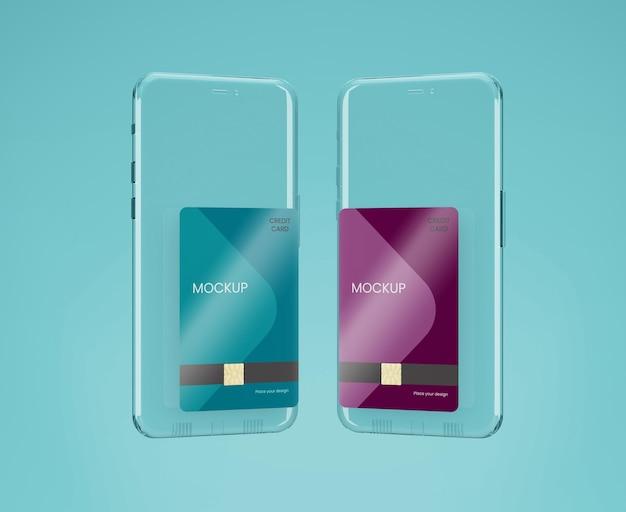 Transparant telefoon- en kaartmodel