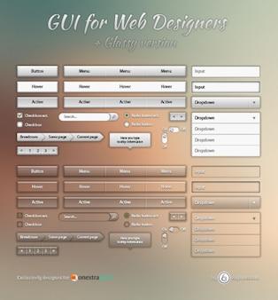 Transparant web elementen psd materiaal