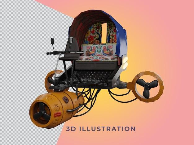 Transparante 3d teruggegeven riksja illustratie vooraanzicht