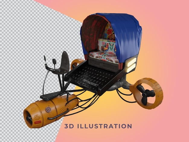 Transparante 3d teruggegeven riksja illustratie zijaanzicht