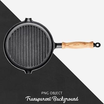 Transparante gietijzeren pan met houten handvat