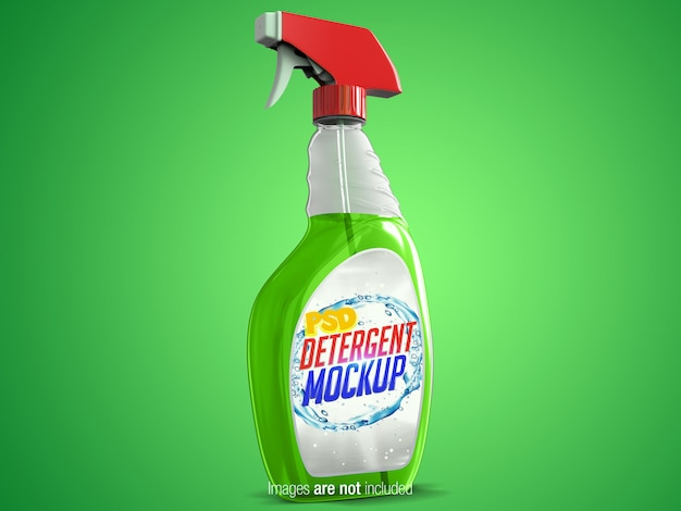 Transparante reinigingsspray linksperspectiefweergave