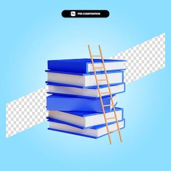 Trap naar de stapels boeken 3d render illustratie geïsoleerd