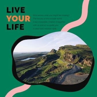 Travel mountain marketing template psd anuncio de redes sociales para agencias