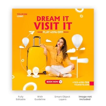 Traveling dream with women instagram post gratis psd