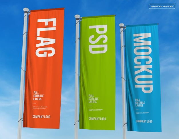 Tre bandiere verticali mockup design